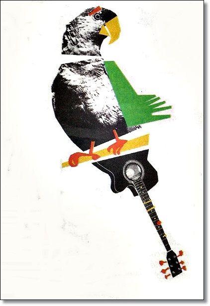 """Papagaio Violão de Catarina Bassell Segunda-feira 14/06/2105 Ilustrada Folha de S. Paulo """"A Língua Impalpábel"""" de Gergório Duvivier"""