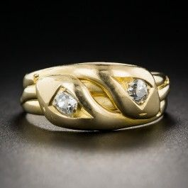 English Twin Snake Diamond Vintage Ring Unisex Size 812