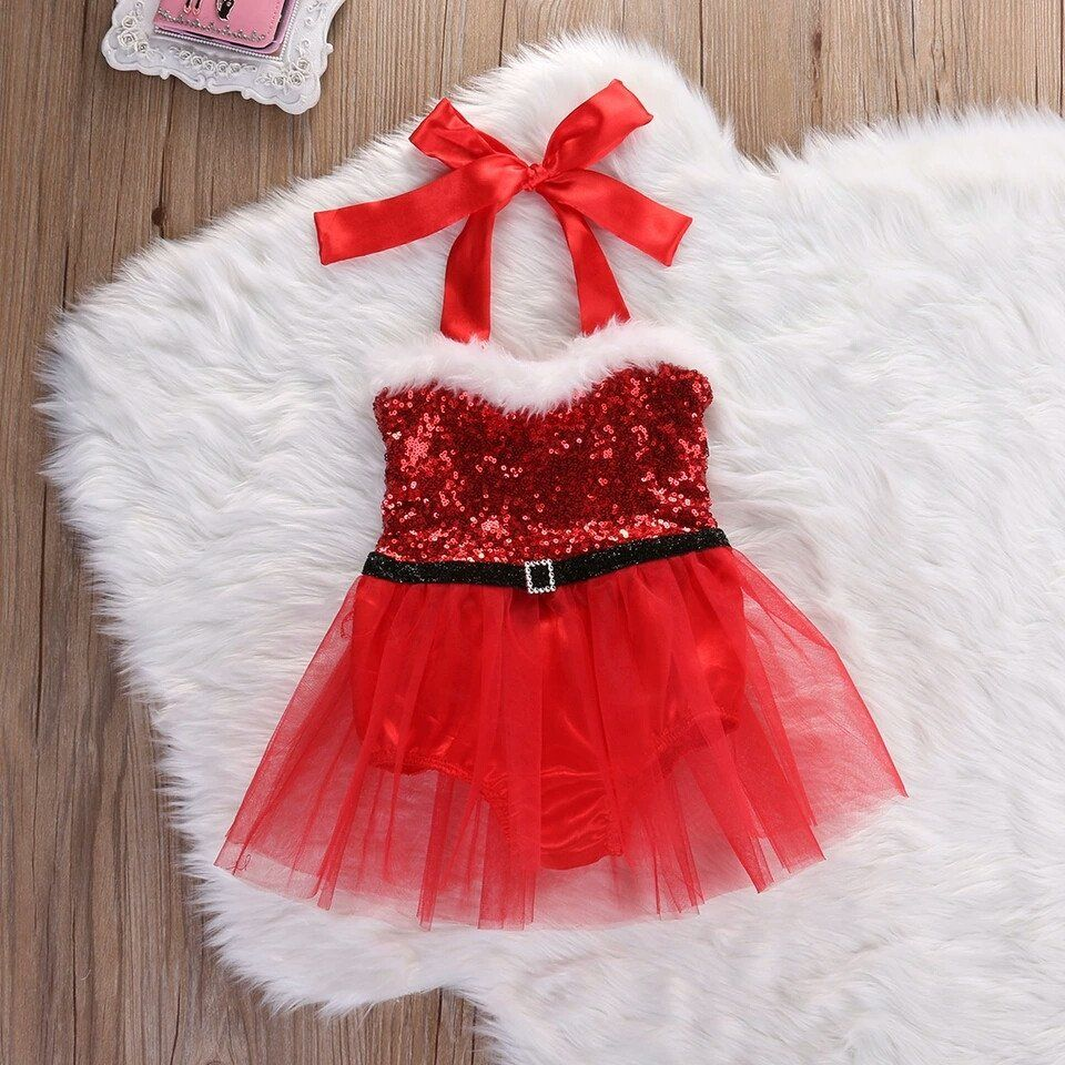 667037964 Mrs Claus romper | Rompers | Baby girl christmas dresses, Girls ...