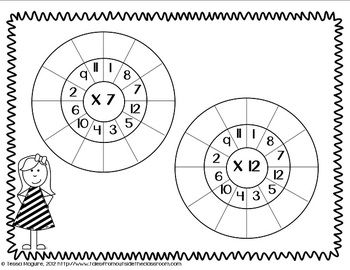 Multiplication wheels for fact fluency building