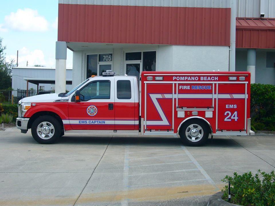 Pompano Beach Fire Rescue Ems Captain Ems 24 Ford F 350 Fire Rescue Fire Apparatus Fire Trucks