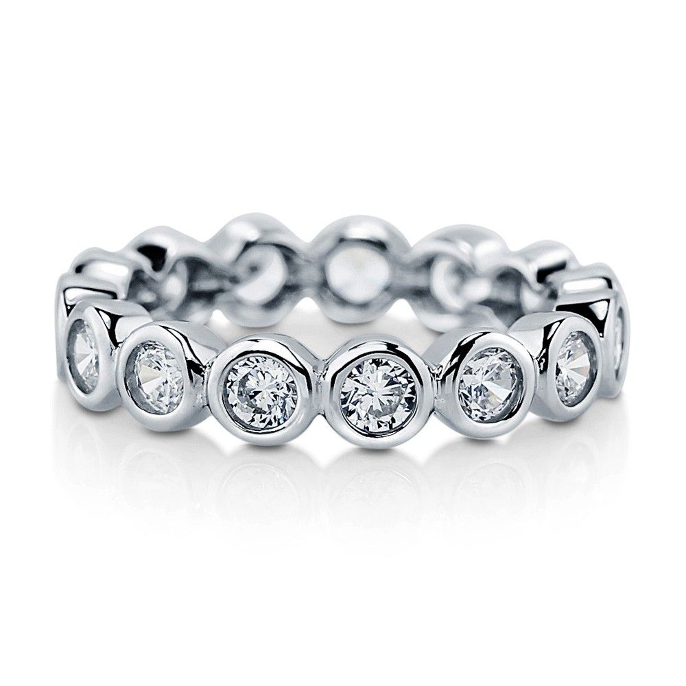 Round Cut Eternity Band Silver CZ Ring White Cubic Zirconia Wedding Ring