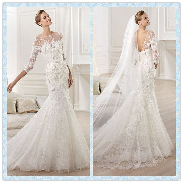 Lace Mermaid Wedding Dress With Long Sleeves New Designer Sleeve Tlnekmv