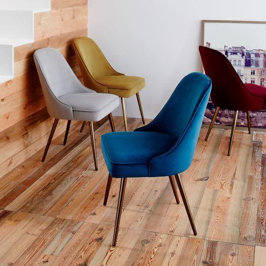 Mid-Century Upholstered Dining Chair - Velvet | west elm ...