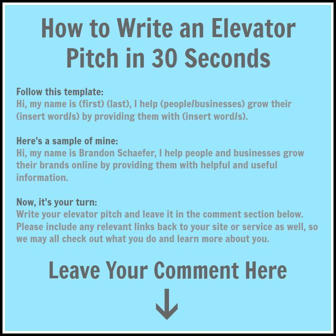 Elevator Speech Format Peopledavidjoel