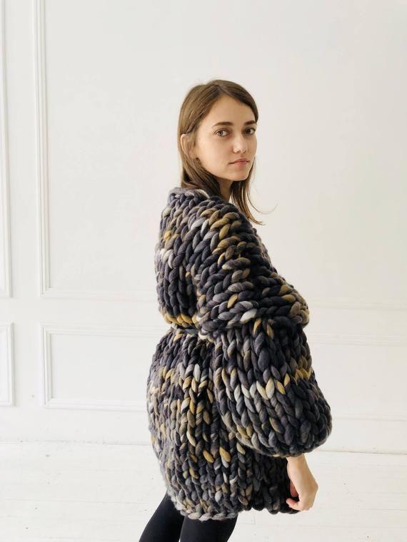 44a2244b1 Super chunky grey cardigan of merino wool