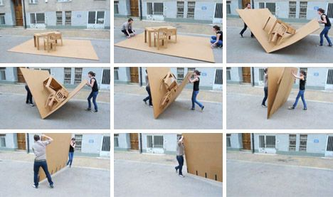 Marvelous Portable Pop Up Office: All In One Cardboard Furniture Set, But