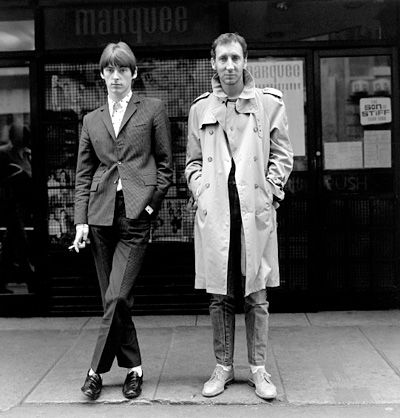 Paul Weller and Pete Townsend in Soho, London, 1980.