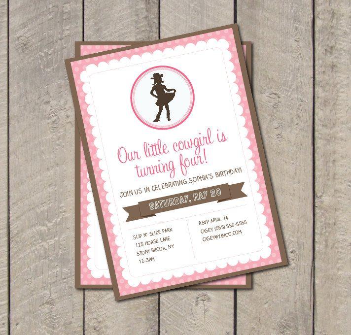 Lovely Cowgirl Birthday Party Invitation Ideas - Invitation Card ...