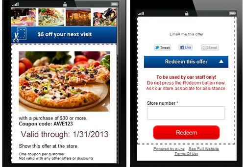 Mobile coupon with piJnz