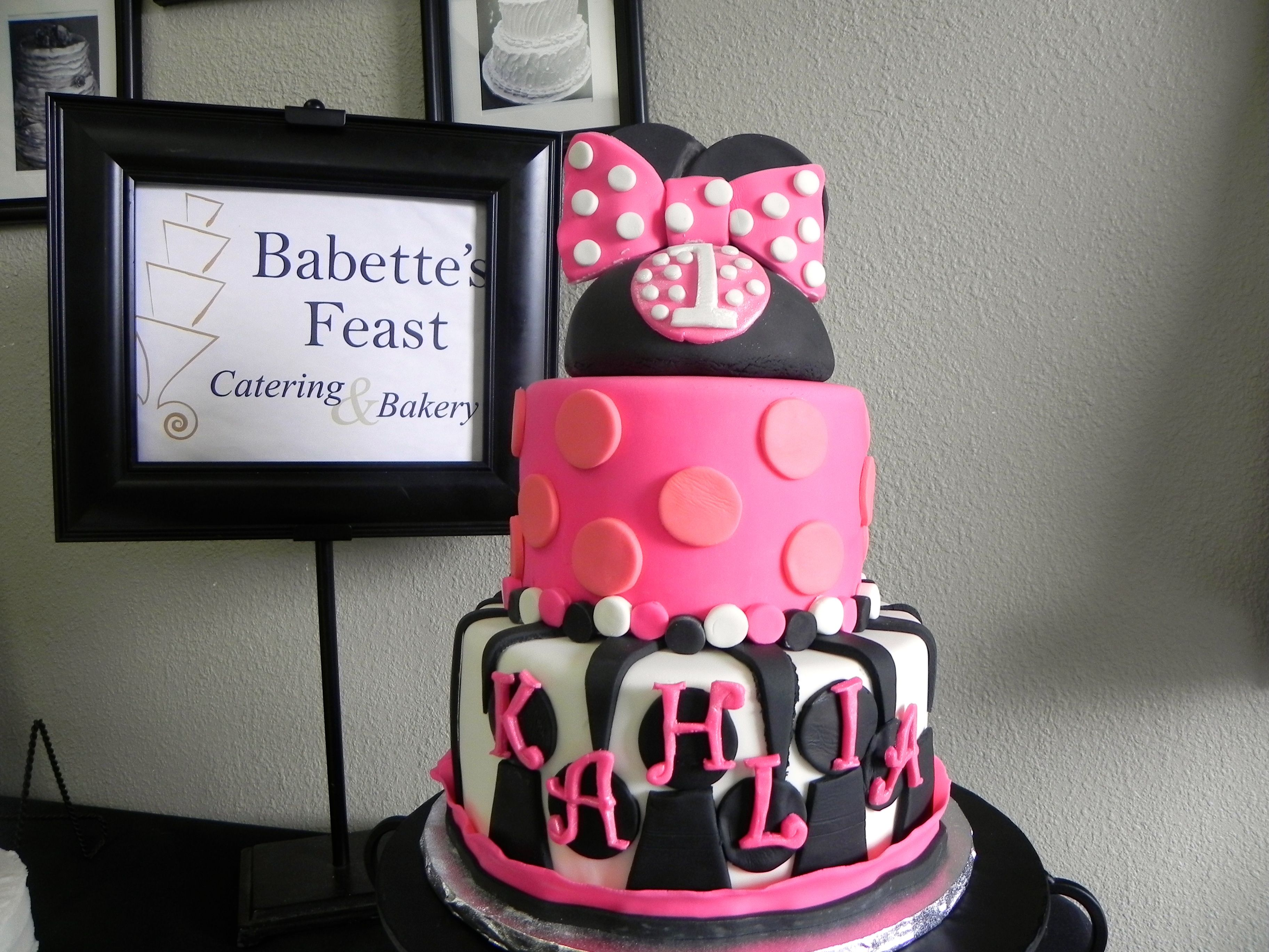 Minnie Mouse Zebra Birthday Cake Birthdays and Special Occasions