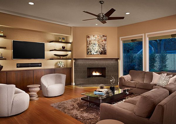 fascinating living room with corner fireplace and TV decorating ...