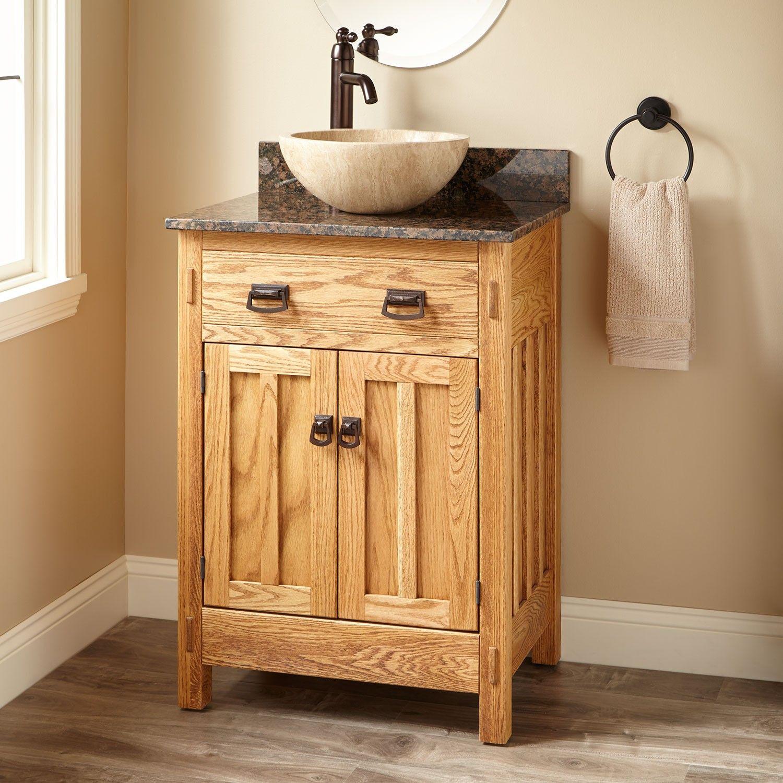 24 Narrow Depth Mission Hardwood Vessel Sink Vanity With Images Bathroom Sink Vanity