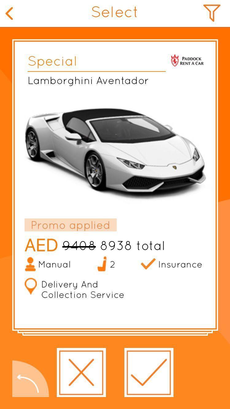 Rent a Aventador! Car rental app, Car rental