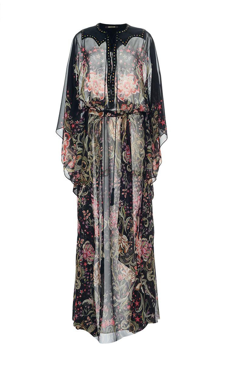 Floral Printed Silk Georgette Long Dress   by ROBERTO CAVALLI for Preorder on Moda Operandi