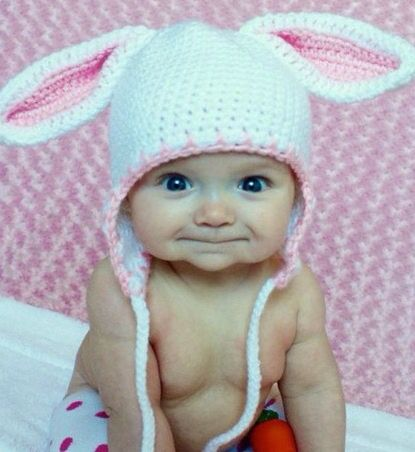 Smiling Little Girl with Bunny Hat On. | Kinder | Pinterest | Kind