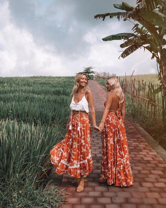 Twinning in the tropics! boho chic, boho style, boho outfit