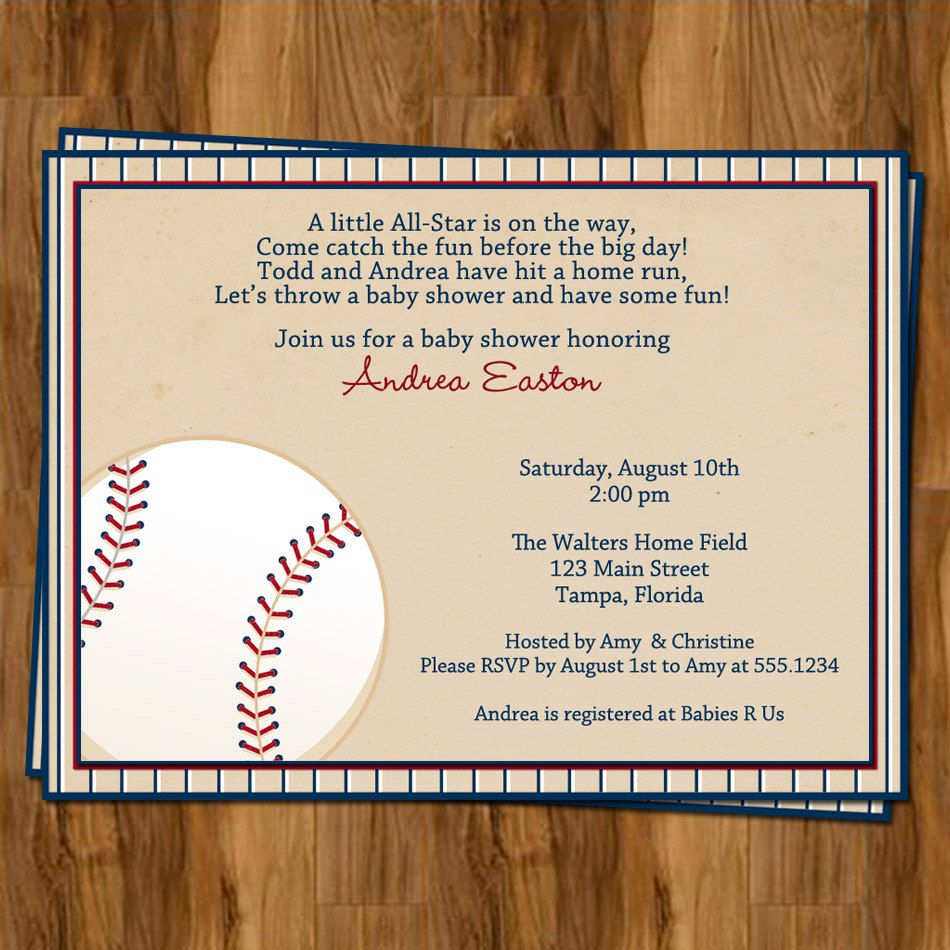 Baseball Baby Shower Invitations for Sports Theme or Vintage Ball ...