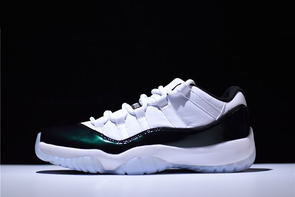 "1c91957db739 2018 Air Jordan 11 Retro Low ""Iridescent"" White Black-Emerald Rise For Sale"