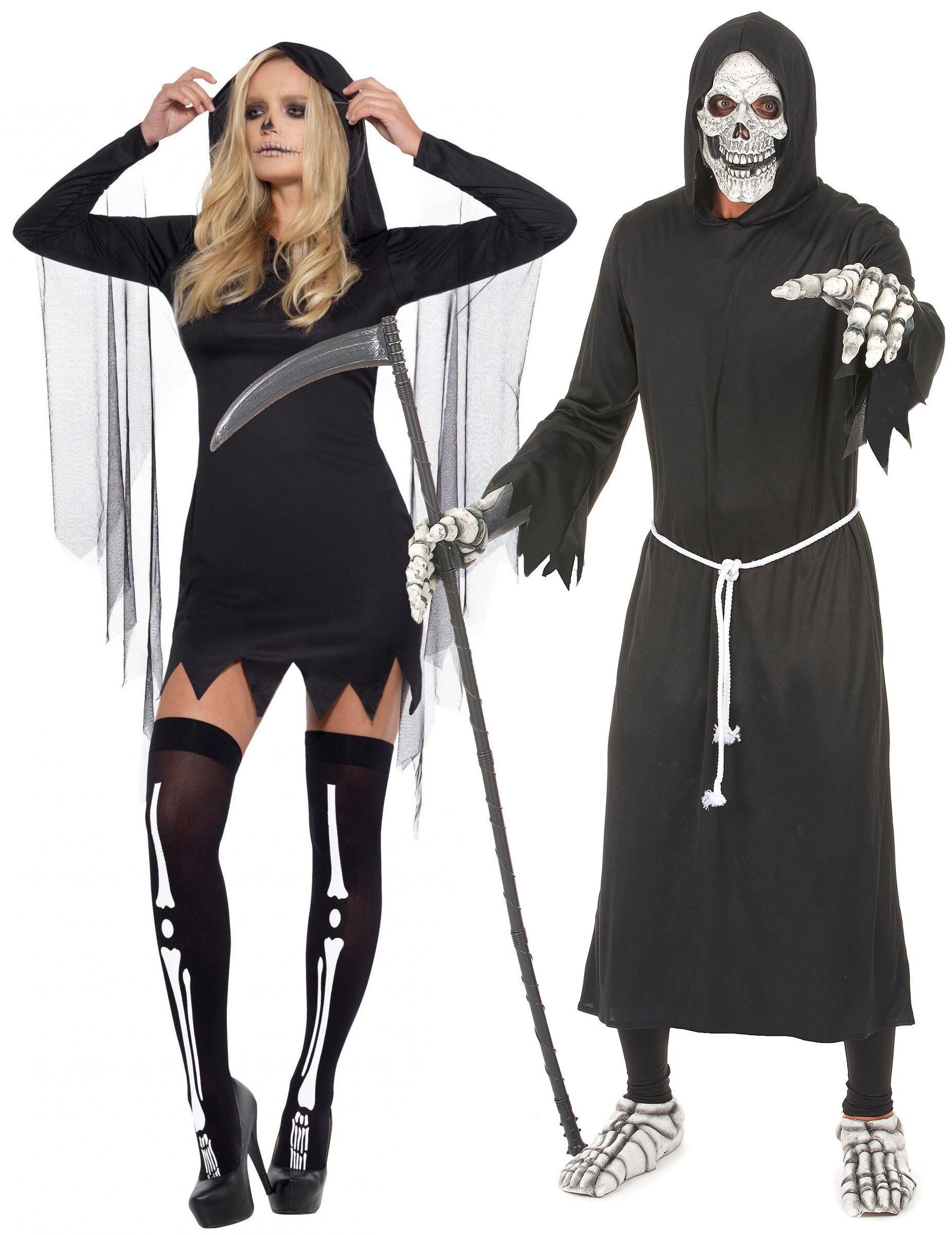 Costume di coppia da Morte per adulti Halloween  Questo costume di coppia é  composto da 048496f43d07