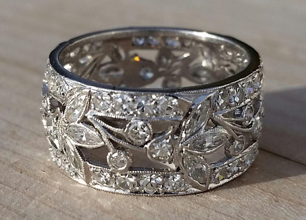 Estate platinum diamond floral filigree wide band ring7