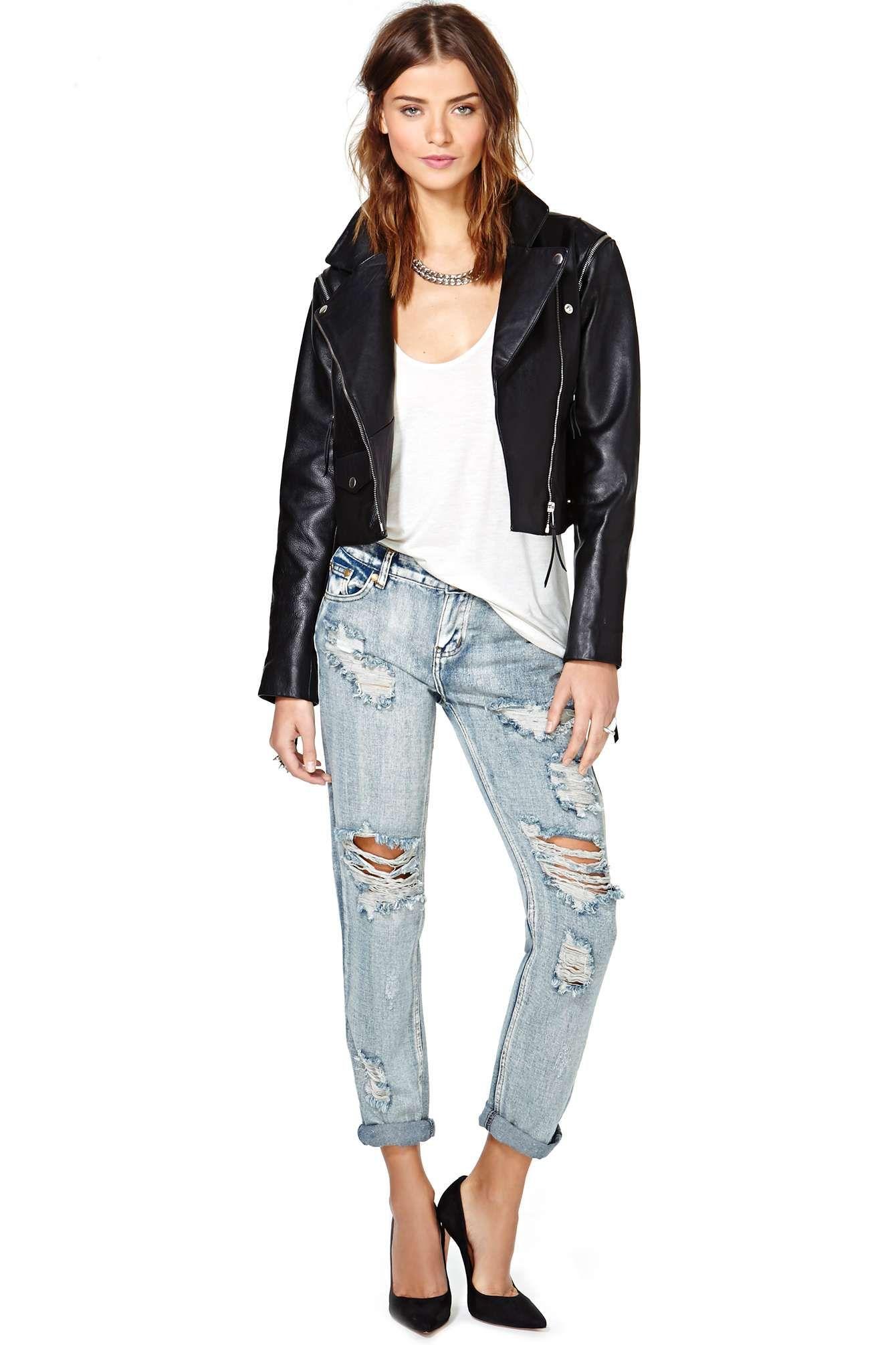 Just Female Dagman Convertible Leather Jacket Faux