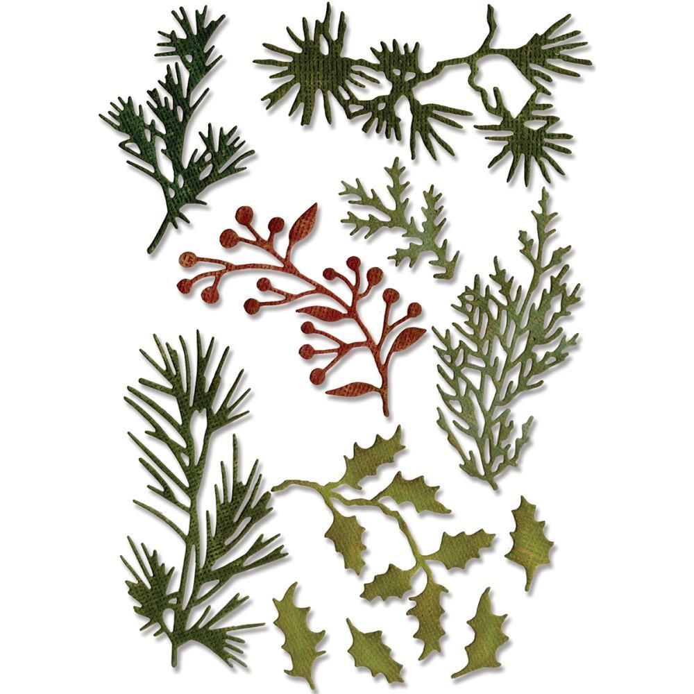 Ellen Hutson LLC - Sizzix Thinlits Dies, Mini Holiday Greens by Tim Holtz, $15.00 (http://www.ellenhutson.com/sizzix-thinlits-dies-mini-holiday-greens-by-tim-holtz/)