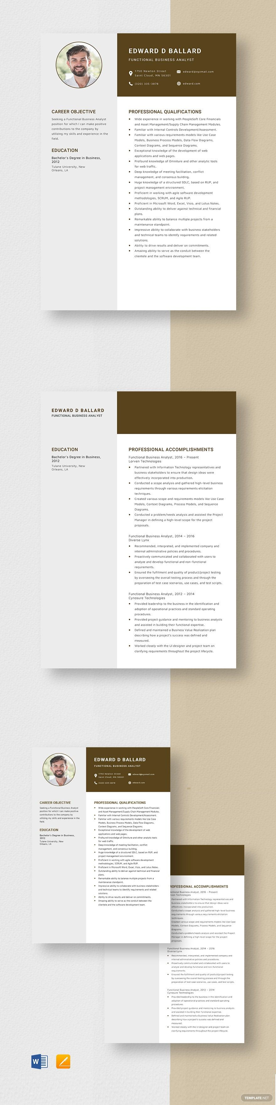 Functional Business Analyst Resume Template in 2020