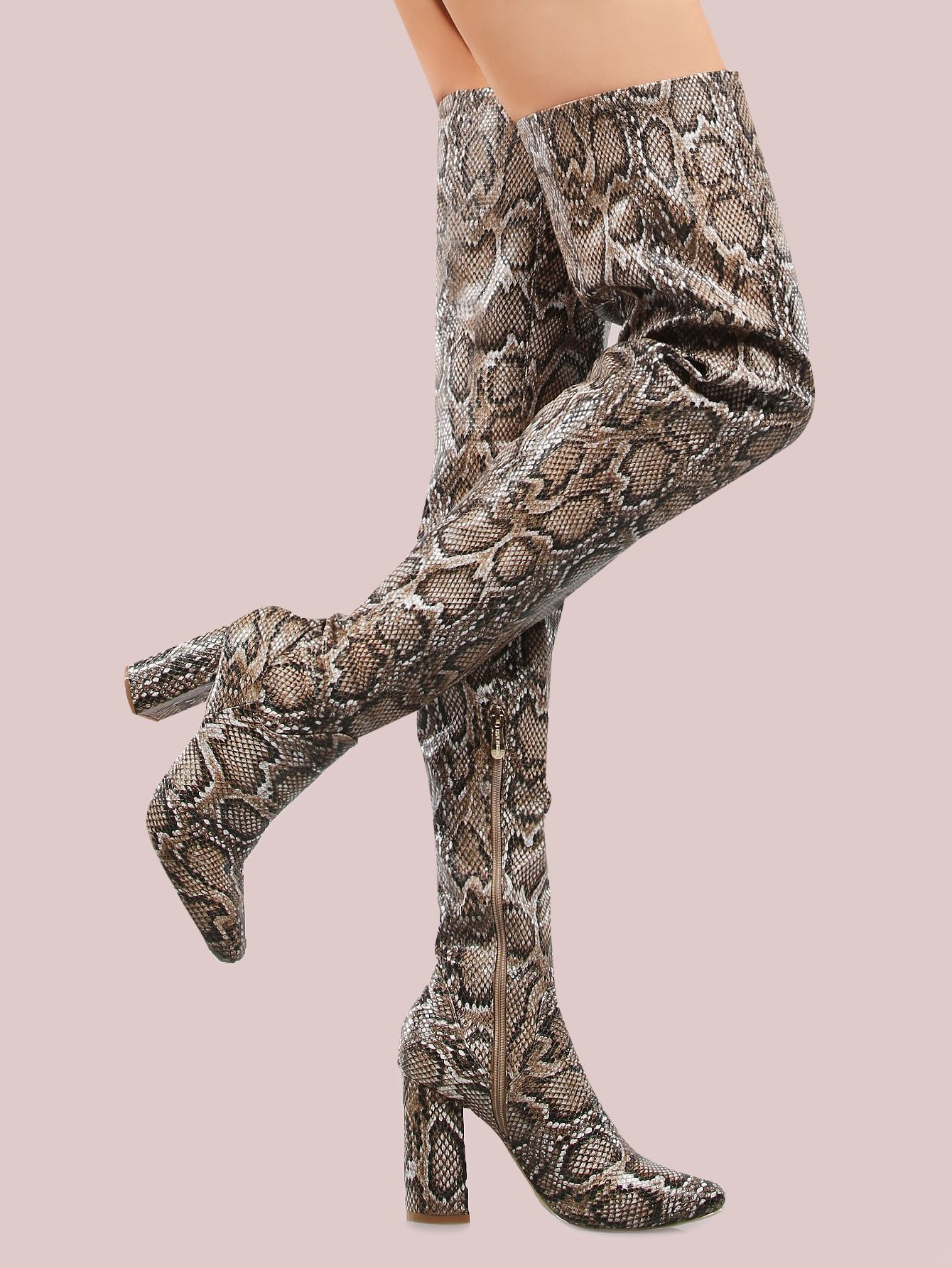 d914790d74 Shop Faux Snake Skin Thigh High Boots SNAKE online. SheIn offers Faux Snake  Skin Thigh High Boots SNAKE & more to fit your fashionable needs.