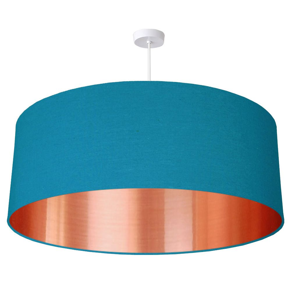 70cm extra large brushed copper effect fabric drum lampshade 25 colours