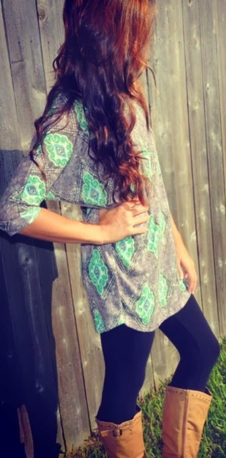 Beautiful party tunic shirt, leggings and long boots
