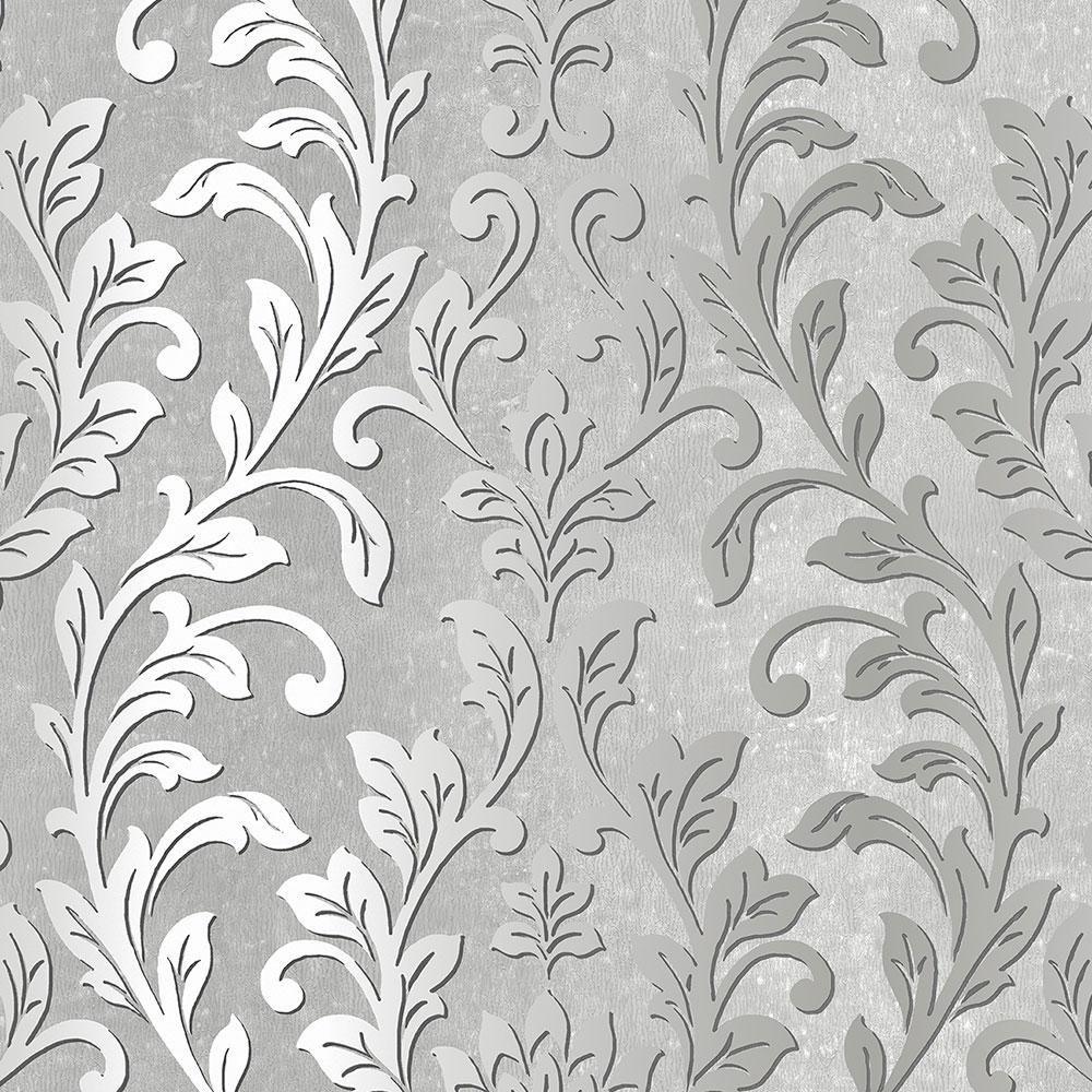 Norwall Silver Leaf Damask Wallpaper, Black/ Grey Damask