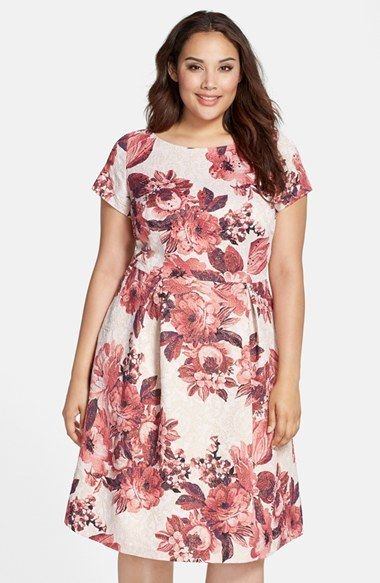 cd2b26f39bb Adrianna Papell Matelassé Floral Jacquard Fit   Flare Dress (Plus Size)