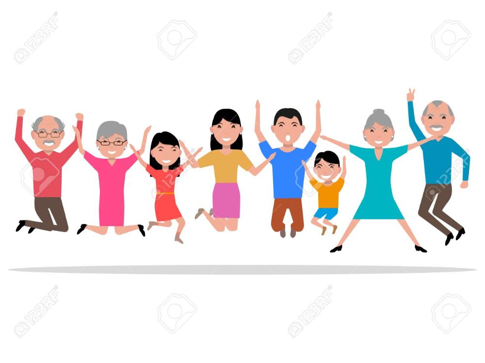 Ilustracion Vectorial De Dibujos Animados Saltando Las Personas Felices Sonriendo Salto Para La Alegria Familia Grande Rebotando Con La Gente Del Placer Esti Persona Feliz Material Escolar En Ingles Familia Grande