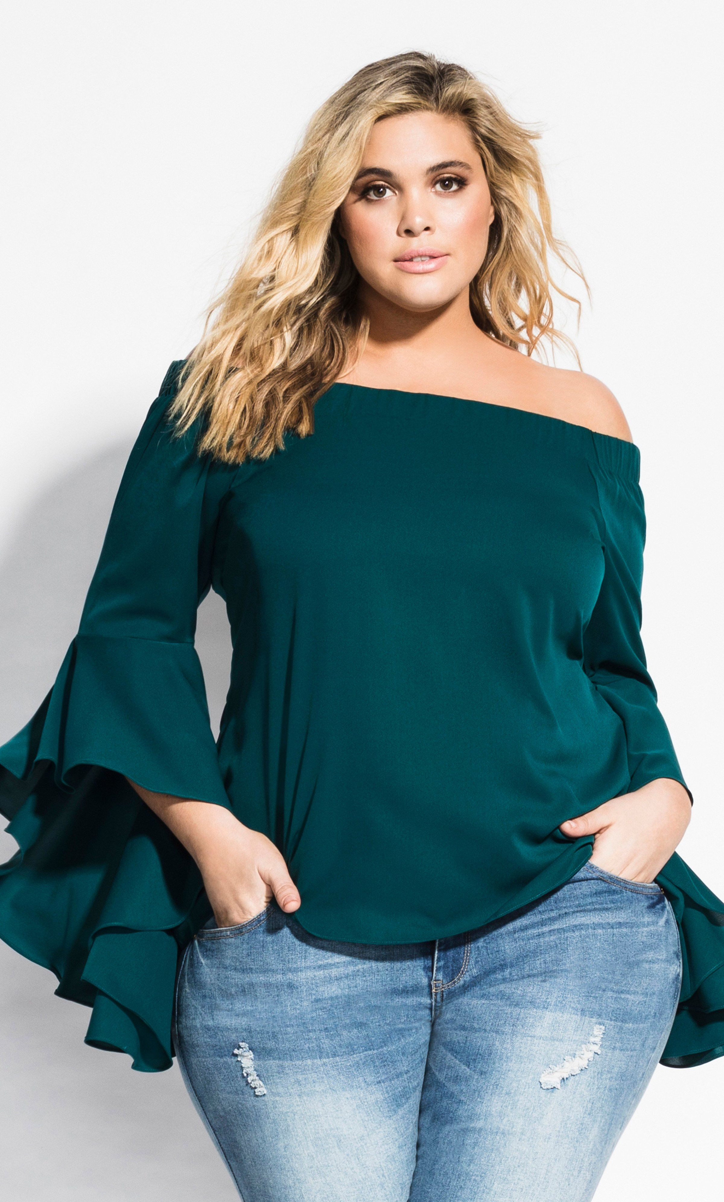 8d2062b3d321c5 Romantic Sleeve Top - Emerald in 2019   Plus Size Clothing, Many ...