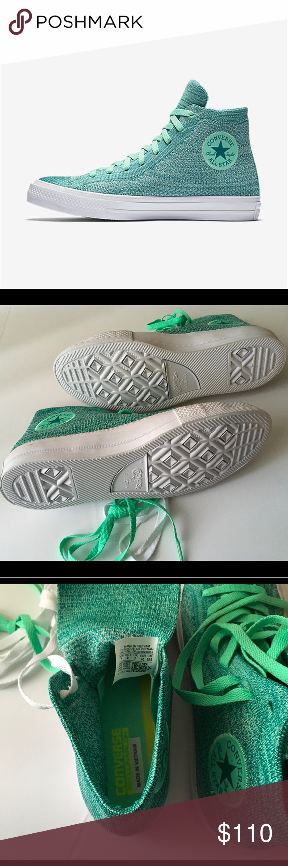 CONVERSE CHUCK TAYLOR ALL STAR X NIKE FLYKNIT HI-T BRAND NEW CONVERSE Chuck  Taylor all star x Nike flyknit Hi-top Sneaker (Unisex) green glow-Rio  UNISEX 7 ... da96887a1d