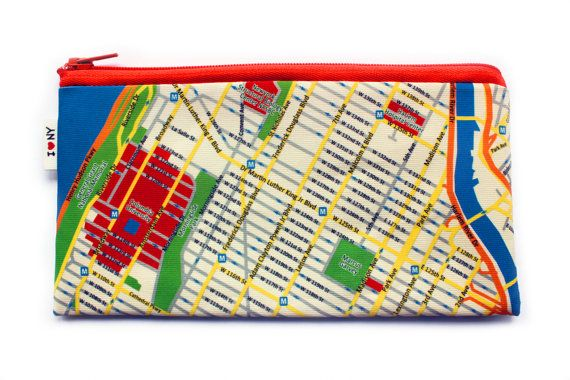 NEW YORK map pencil case / Map pattern wallet / by efratul on Etsy