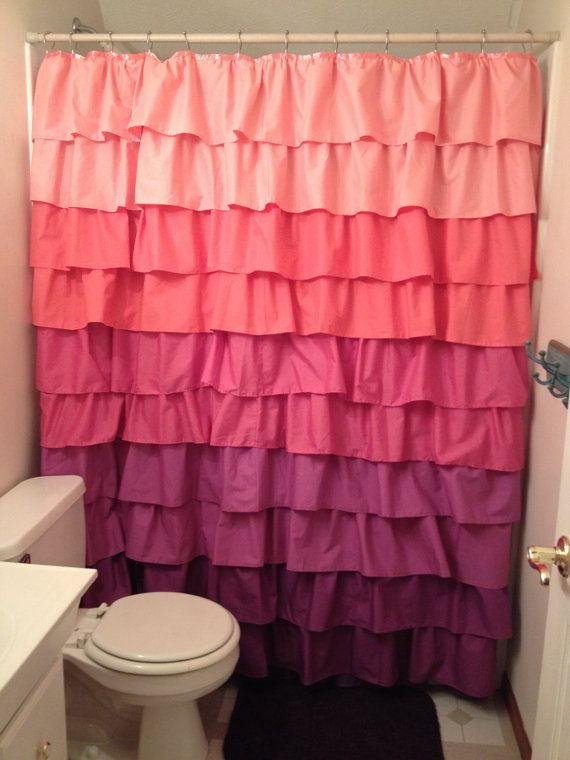Coral Pink And Purple Ruffle Shower Curtain By Designsbythenshore