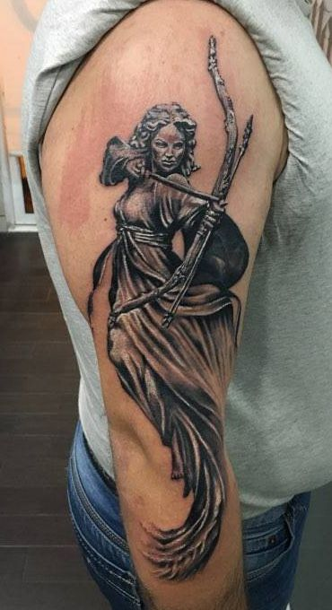 #perystyle #tattoo #statue #artemis #blackngrey #art #arm ...