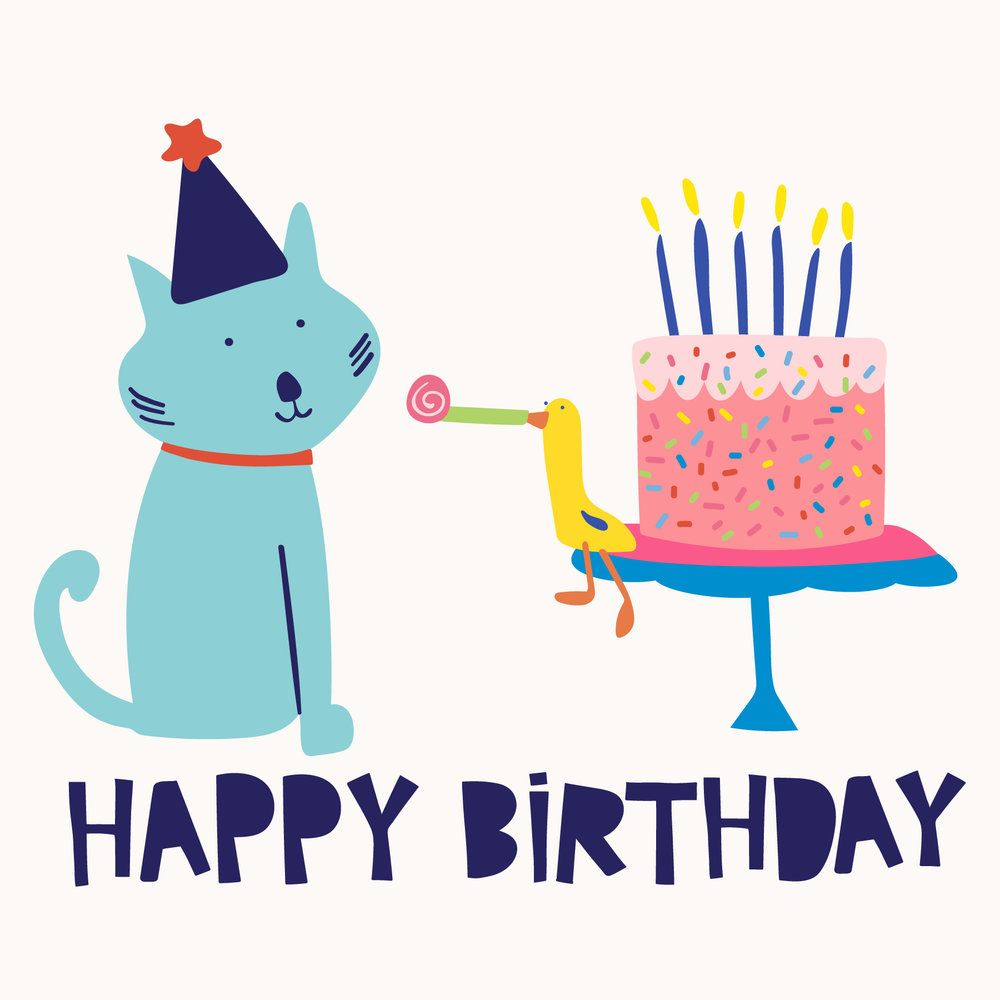 Happy Birthday Greeting Card Birthday Cake Cat Bird Celebrate Illustrated Animals Happy Birthday Cat Birthday Illustration Happy Birthday Illustration