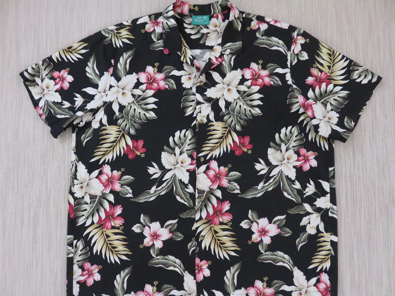 bf6bb531b0b9cb Hawaiian Shirt JADE FASHIONS Black Floral Print Aloha Shirt Hibiscus Orchid  Beach Party 100% Cotton Vintage Men -2XL- Oahu Lew's Shirt Shack by ...