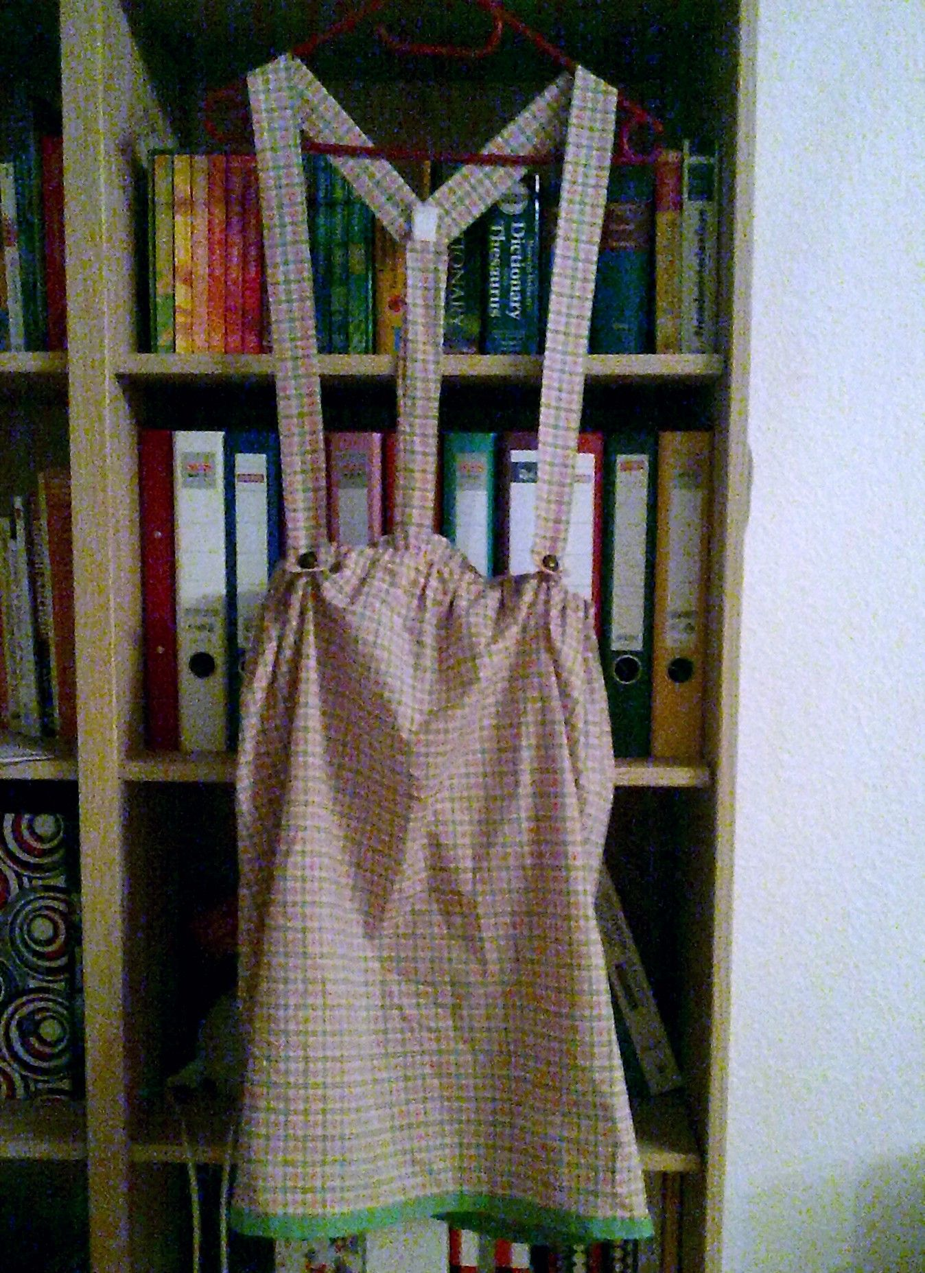 And the next hand-sewn project: Gathered skirt and matching cloth suspenders. =D