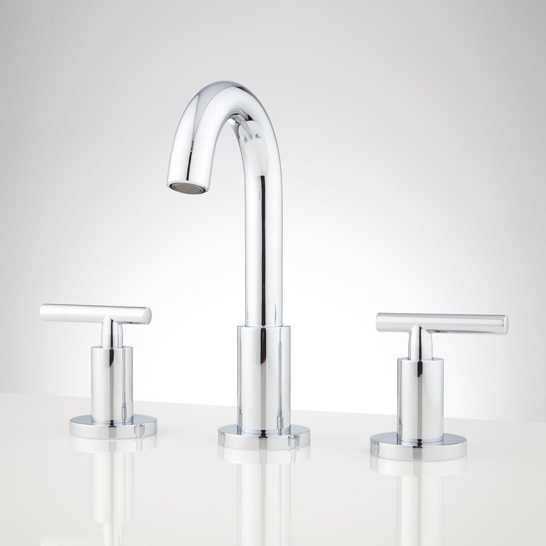 Bareva Widespread Bathroom Faucet - Brushed Nickel. Kids' bath.
