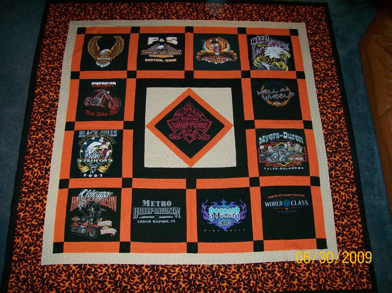 Quilting Patterns For T Shirt Quilts : Harley T-shirt quilt http://www.venusquilting.com/1_Harley ...