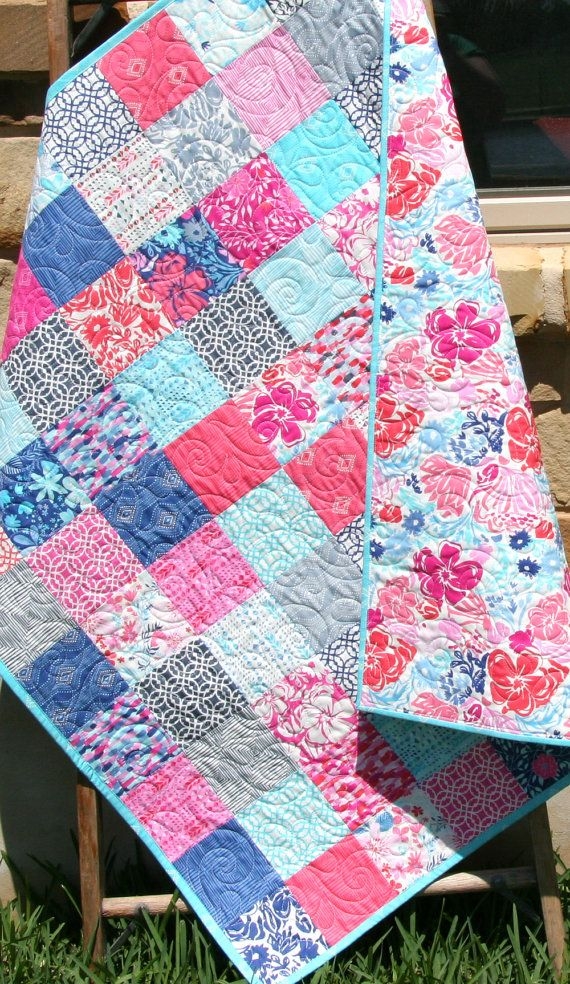 Baby Girl Quilt, Purple Blue Pink Aqua, Baby Bedding, Youth Crib ... : patchwork quilt baby bedding - Adamdwight.com