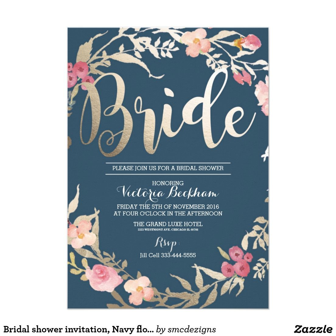 bridal shower invitation golden bride navy blue floral custom orders and customers request pinterest bridal showers shower invitations and