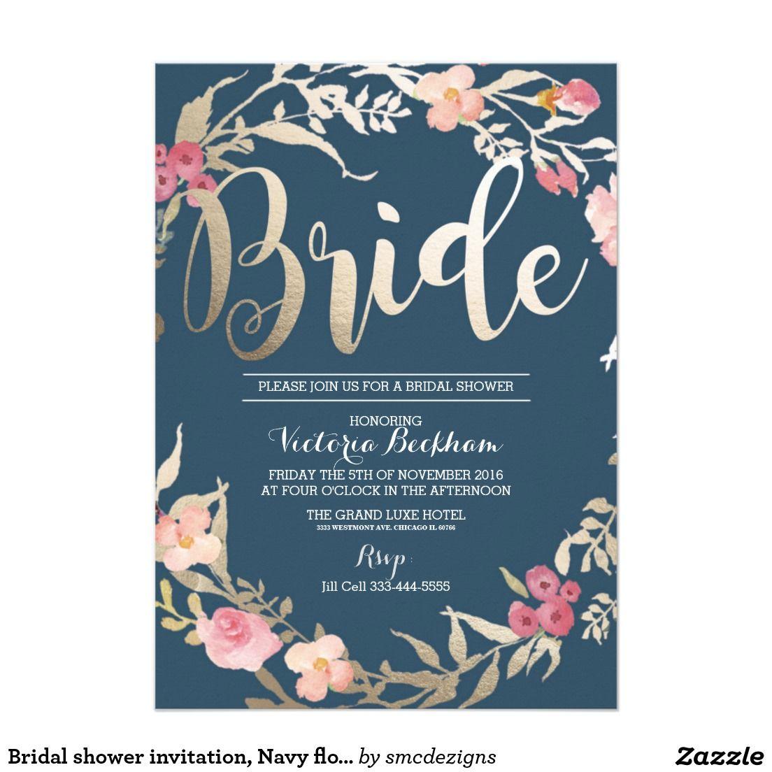 Bridal shower invitation navy floral foil bride card for Flower bridal shower invitations