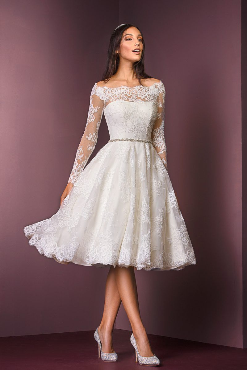 Courthouse wedding dress plus size  Corded Lace TLength Dress  style    Wedding Dress