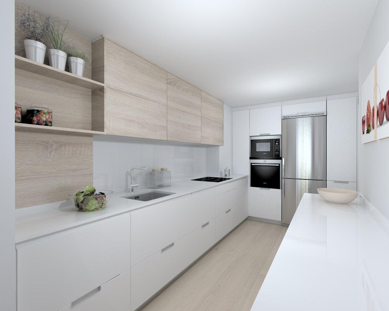 Cocina santos modelo minos laminado blanco seda encimera for Encimera silestone blanco