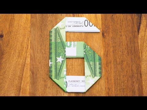 Zahl 6 aus Geldscheinen falten Origami Geldgeschenk